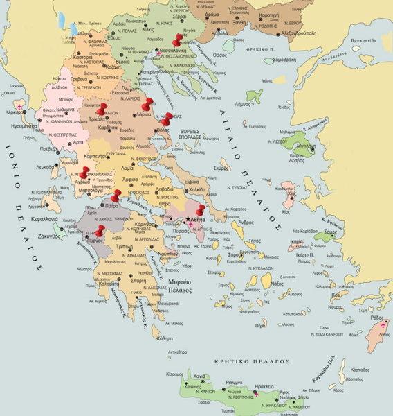 Χάρτης Ελλάδας - Παραρτήματα ΕΛ.Ε.ΑΝ.Α.